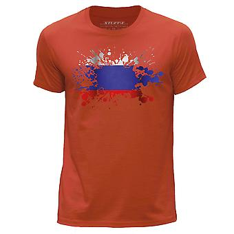STUFF4 Men's Round Neck T-Shirt/Russia/Russian Flag Splat/Orange