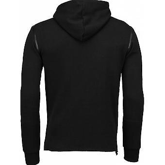 Casual Hoodie-Long Style Zipper-Black