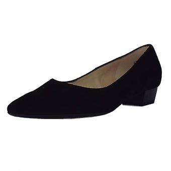 Peter Kaiser Limba Pointed Toe Low Heel Courts In Black Suede