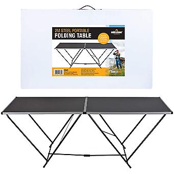 Milestone Steel Foldable Camping Table 2M Black