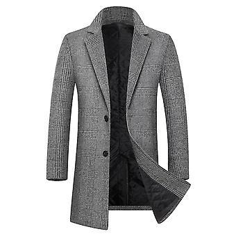 Allthemen Men's Plaid Wool Coat Slim Fit Zagęszczony lakier klapowy