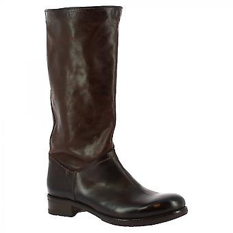 Leonardo Sko Kvinner's håndlagde knehøye støvler i mørk brun kalv skinn