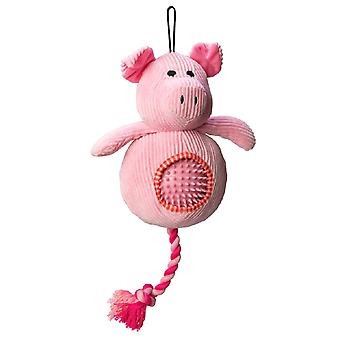 House Of Paws Pig Cord Dog Toy With Spiky Ball