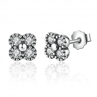 Silver Earrings Shining Flower - 6506