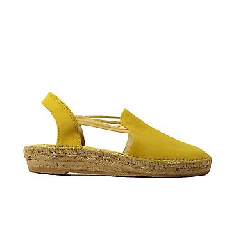 Toni Pons Nuria Yellow Suede Leather Womens Slip On Espadrille Shoes