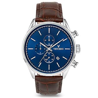 Vincero Watches Blu-bro-s05 The Chrono S Blue & Brown Leather Men's Watch
