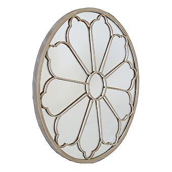 Charles Bentley Round Outdoor Flower Mirror Decorative Cream Beige Sand Shabby Chic Iron H92 x D11cm