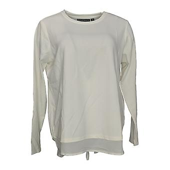 BROOKE SHIELDS Timeless Women's Top Mixed Media Long Sleeve Ivory A342023