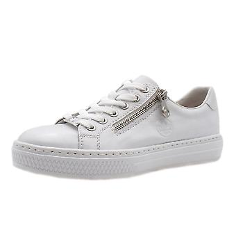 Rieker L59l1-80 Jupiter Smart Casual Leather Trainers In White