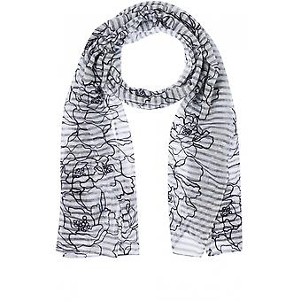 Olsen Striped Embroidered Floral Scarf