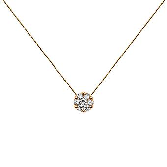 Choker Flower Cluster 18K Gold and Diamonds, on Thread - Rose Gold, Champagne