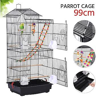 Large Metal Parrot Cage Bird Cage for Budgerigars Cockatiels Monk Parakeets Golden Parakeets with Perch Stand and Wheels