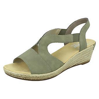 Señoras Rieker Strappy cuña sandalias con tacón 62429