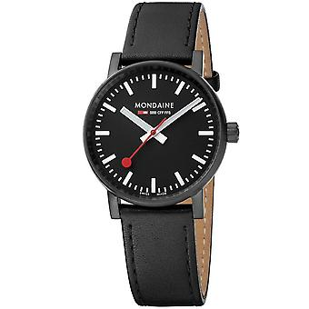 Mondaine evo2 Black IP Case Black Leather Strap Ladies' Watch MSE.35121.LB 35mm