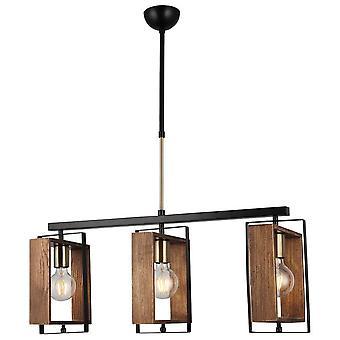 Lámpara de suspensión Karo Color Oro, Negro, Metal Madera, Madera, L74xP22xA86 cm