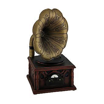 Vintage Gramophone brons och trä Finish mynt Bank