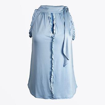 Gustav - Halterneck Sleeveless Top - Bleu
