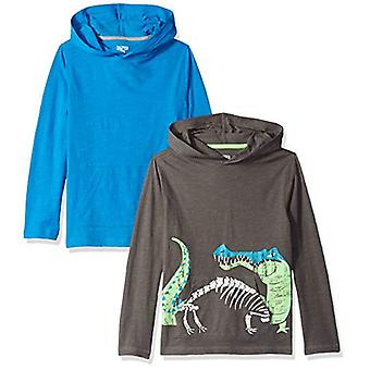 Spotted Zebra Big Boys' 2-Pack Light-Weight Hooded Long-Sleeve T-Shirts, Gato...