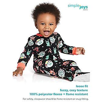 Simple Joys by Carter's Boys' Toddler 3-Pack Loose Fit Flame Resistant Fleece Footed Pajamas, Arctic Animals/Stripe Mouse/Buffalo Check, 2T