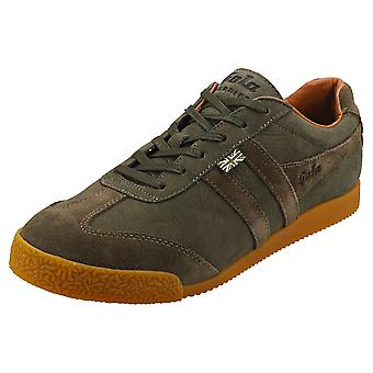 Gola Harrier 634 -made In England- Mens Classic Trainers in Olive