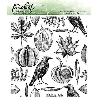 Picket Fence Studios syksyn sadonkorjuukollaasi selkeät postimerkit