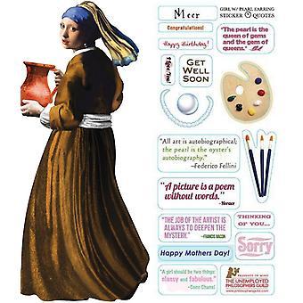 القرطاسية - فتاة مع لؤلؤة - بطاقة وملصق ورقة جديد 2234