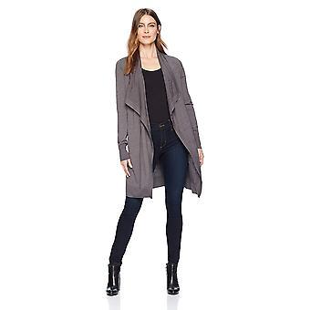 Brand - Lark & Ro Women's Long Waterfall Cardigan Sweater, Charcoal He...