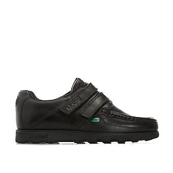 Boy''s Kickers Junior Fragma Strap Shoe in Black