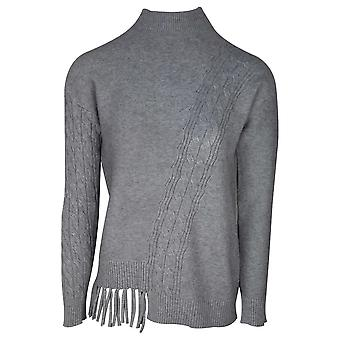 Passioni Grey Fine Knit Polo Neck Jumper With Ribbed Detail