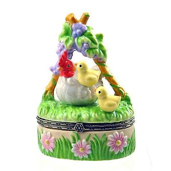 Barnyard Farm Animals Hen and Baby Chicks Porcelain Hinged Trinket Box