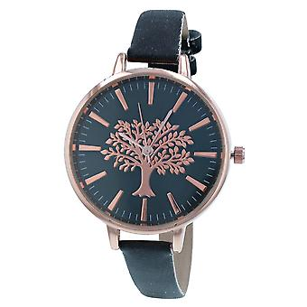 Thomas Calvi Ladies Analogue Black Dial With Rosegold Tone Tree Of Life Design Thin Black PU Strap Watch Buckle Closure TCW252D
