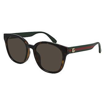 Gucci Asian Fit GG0855SK 003 Havana/Green Brown Sunglasses