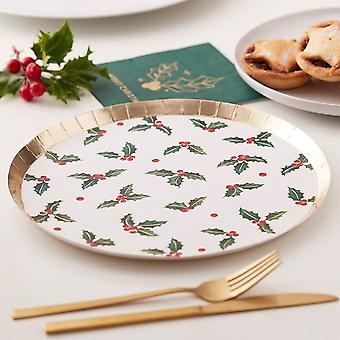 Christmas Holly Leaf Paper Party Plates x 8