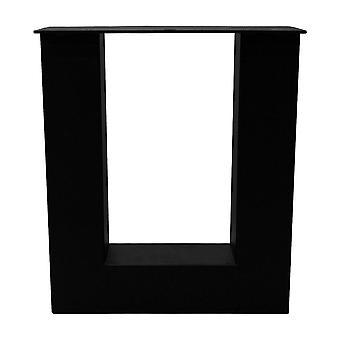 Set patas de mesa U negras 43 cm con pies de ajuste (tubo 8 x 8) (1 pieza)