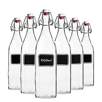 Bormioli Rocco 6pc Lavagna Glass Swing Top Bottle Set with Chalkboard Label - For Preserving, Home Brew - 1L