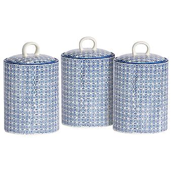 Nicola Spring 3pc Hand-Printed Biscuit Barrel Set - Porcelain Kitchen Storage Canisters with Seal - Navy - 15.5 x 25cm