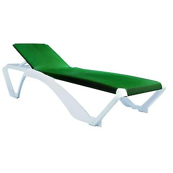 Resol Marina Garden Sun Lounger Bed - Adjustable Reclining Outdoor Summer Furniture - White, Green