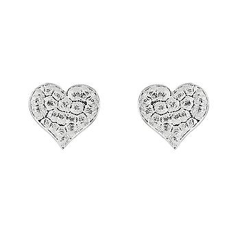 Boucles d'oreilles Dew Sterling Silver Hammered Heart Stud 48411HP028