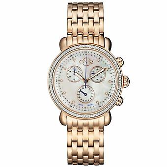 GV2-tekijä Gevril Women's 9800 Marsala Chronograph Diamond Rose-Gold IP Steel Watch