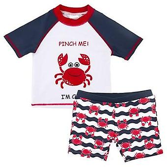 Maillot de bain short sleeve top+pants+hat 2pcs Crab Swimwear