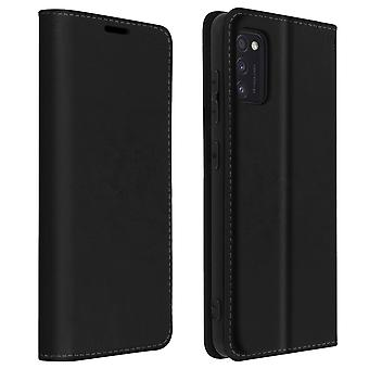 Back cover for  Samsung Galaxy A41 in Genuine Leather, support function -Black