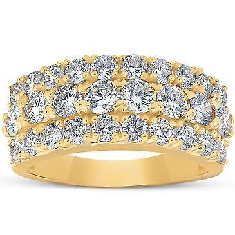 2 3/ 4 Ct Diamond Anniversary Ring EX3 Lab Dyrket 14k gult guld