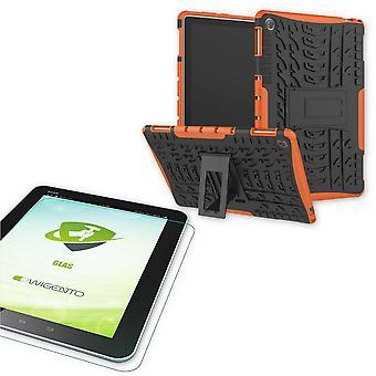 עבור Huawei MediaPad T5 10.1 בגודל אינץ ' היברידי בחוץ מקרה הגנה מקרה אורנג ' + 0.4 H9 זכוכית מגן