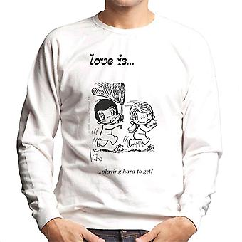 Love is playing hard to get men's collegeshirt