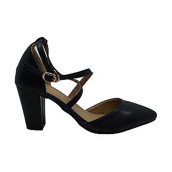 KeBuLe Women's Middle Block Heels Cross Strap Pumps Navy Dress Shoes US Size ...