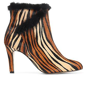 Jones bootmaker naisten tekoturkis leikattu korkokengät nahka nilkan boot