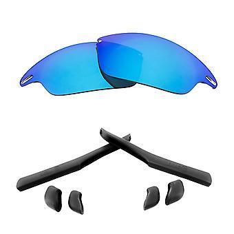 Polarized Replacement Lenses Kit for Oakley Fast Jacket Blue Mirror Black Anti-Scratch Anti-Glare UV400 by SeekOptics