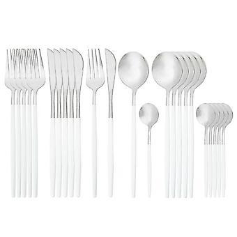 24pcs aur tacâmuri din oțel inoxidabil Set de cuțit Fork Cafea Lingura Set de tacâmuri