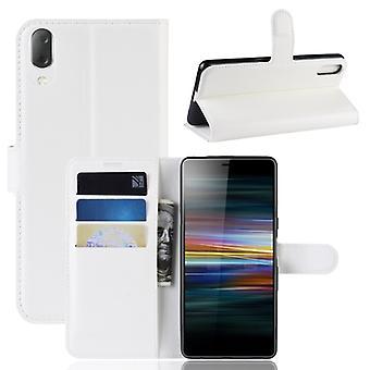 ממקרה עור עם טקסטורה אופקית עם Sony Xperia L3, עם ארנק &מחזיק חריצי כרטיסים (לבן)