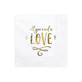 White and Gold Paper Napkins 'All You Need is Love' x 20 Wedding Party
